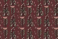 Elvelyckan Designe Jersey Blumenfest weinrot