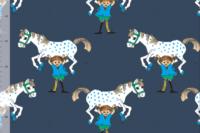 Elvelyckan Designe French Terry Pippi Horse dunkelblau