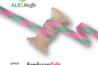 Albstoffe Kordel Plaid grün/pink