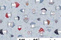Lillestoff Susalabims Kleine Pilze blau