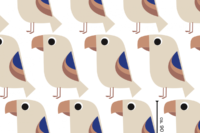 Lillestoff Tropenvogel royalblau- lachs