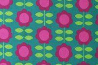 Die kleine Stoffmaus Happy Retroflowers petrol Jersey